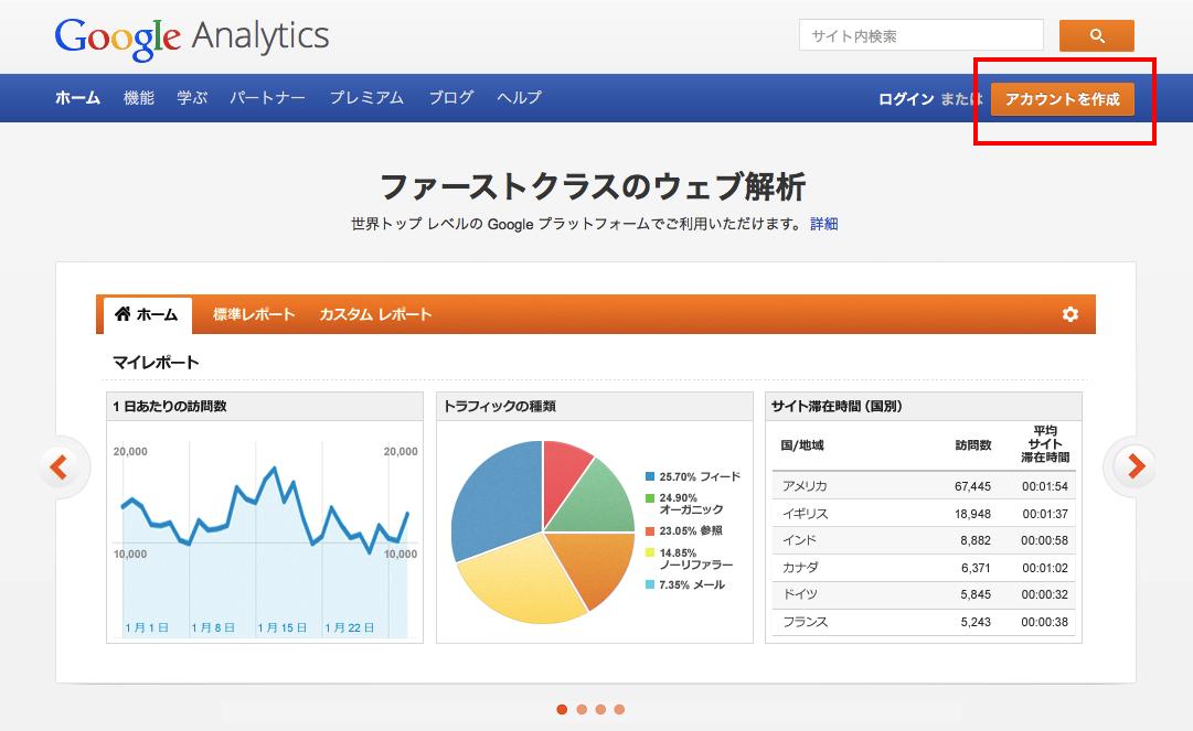 グーグルアナリティクストップページ